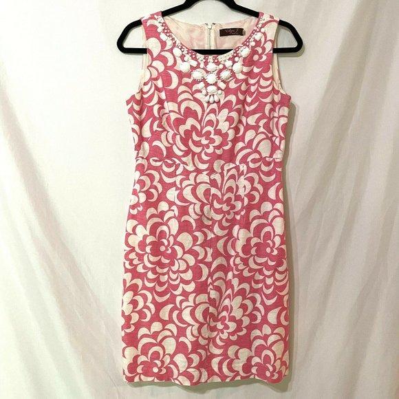 Eliza J Pink White Floral Sleeveless Sheath Dress